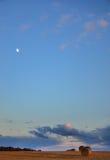 Το φεγγάρι επάνω από έναν τομέα αγροτών κατά τη διάρκεια της ημέρας Στοκ Φωτογραφίες