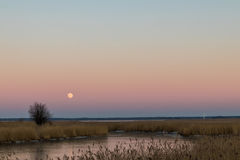 Το φεγγάρι επάνω από τη λίμνη Στοκ Εικόνες