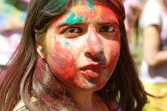 Το φεστιβάλ ανοίξεων προσώπου μιας όμορφης γυναίκας Στοκ Εικόνα