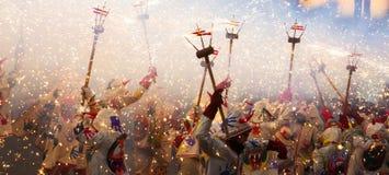 Το φεστιβάλ μπορεί - να παρουσιάσει με τα πυροτεχνήματα Στοκ Εικόνα