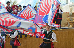 το φεστιβάλ σημαιοστολίζει το μεσαιωνικό ουρανό Στοκ φωτογραφίες με δικαίωμα ελεύθερης χρήσης