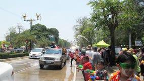 Το φεστιβάλ Songkran γιορτάζεται με τους ελέφαντες σε Ayutthaya Στοκ φωτογραφίες με δικαίωμα ελεύθερης χρήσης
