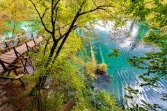 το φθινόπωρο αρχίζει Εθνικό πάρκο λιμνών Plitvice, Δαλματία, Κροατία Στοκ εικόνες με δικαίωμα ελεύθερης χρήσης