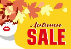 το φθινόπωρο αφήνει την κόκκινη λέξη πώλησης απαγορευμένα διαμορφώστε το κορίτσι Χρωματισμένα φύλλα Τολμηρό, ελάχιστο ύφος Λαϊκή  απεικόνιση αποθεμάτων