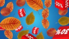 το φθινόπωρο αφήνει την κόκκινη λέξη πώλησης ελεύθερη απεικόνιση δικαιώματος
