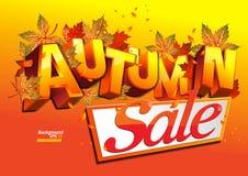 το φθινόπωρο αφήνει την κόκκινη λέξη πώλησης διανυσματική απεικόνιση