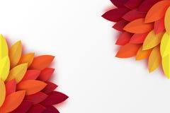 Το φθινόπωρο εγγράφου αφήνει το ζωηρόχρωμο υπόβαθρο Καθιερώνουσα τη μόδα περικοπή εγγράφου origami διανυσματική απεικόνιση