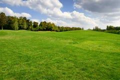 το φθινόπωρο χρωματίζει τα δέντρα άμμου γκολφ σημαιών πεδίων Στοκ Φωτογραφίες