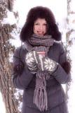 το φλυτζάνι φαίνεται όμορφη χειμερινή γυναίκα τσαγιού Στοκ Φωτογραφίες