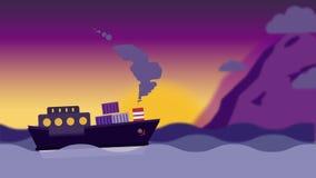 Το φορτηγό πλοίο φέρνει τα εμπορευματοκιβώτια πέρα από τον ωκεανό διανυσματική απεικόνιση