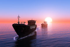 Το φορτηγό πλοίο ελεύθερη απεικόνιση δικαιώματος