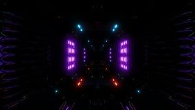 Το φουτουριστικό υπόβαθρο σηράγγων scifi σκοτεινό vjloop με τα φω'τα πυράκτωσης τρισδιάστατα δίνει διανυσματική απεικόνιση