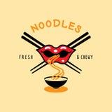 Το φρέσκο και λαστιχωτό λογότυπο νουντλς με το στόμα τρώει το νουντλς και chopstick Στοκ φωτογραφίες με δικαίωμα ελεύθερης χρήσης