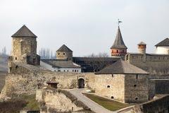 Το φρούριο Podilskyi Kamianets ενσωμάτωσε το 14ο αιώνα Άποψη Στοκ εικόνα με δικαίωμα ελεύθερης χρήσης