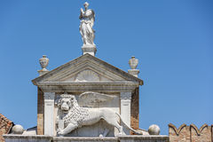 Το φτερωτό λιοντάρι του σημαδιού του ST στη Βενετία, Ιταλία Στοκ Φωτογραφία