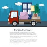Το φυλλάδιο, φορτηγό μεταφέρει τα έπιπλα διανυσματική απεικόνιση