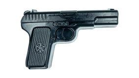 Το φυσικό χειροποίητο σαπούνι απομόνωσε στο άσπρο υπόβαθρο ένα μαύρο πιστόλι στοκ φωτογραφία με δικαίωμα ελεύθερης χρήσης