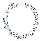 Το φυτικό στεφάνι Watercolor, διαμορφώνει έναν κύκλο Στοκ Εικόνα