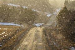 Το φως λάμπει μέσω του χιονώδους καιρού σε μια κυρτή εθνική οδό, αναδρομικά φωτισμένα μόρια χιονιού Στοκ φωτογραφία με δικαίωμα ελεύθερης χρήσης