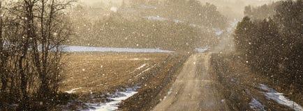 Το φως λάμπει μέσω του χιονώδους καιρού σε μια κυρτή εθνική οδό, αναδρομικά φωτισμένα μόρια χιονιού, πανόραμα Στοκ εικόνα με δικαίωμα ελεύθερης χρήσης