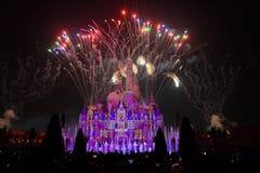 Το φως και τα πυροτεχνήματα παρουσιάζουν στη Σαγκάη Disneyland Στοκ φωτογραφία με δικαίωμα ελεύθερης χρήσης