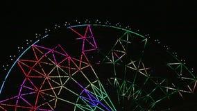 Το φως ροδών της Νίκαιας Ferris παρουσιάζει τη νύχτα κινηματογράφο απόθεμα βίντεο