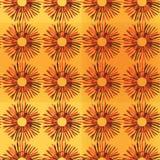 Το φωτεινό ηλιόλουστο floral άνευ ραφής σχέδιο με τους ηλίανθους, πορτοκαλιά περίληψη στο κίτρινο υπόβαθρο, σκίτσο, doodle ορίζει Στοκ Εικόνες