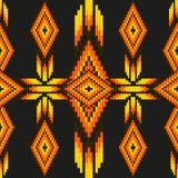 Το φωτεινό οξύ χρωμάτισε το εθνικό beading της Νότιας Αμερικής αφηρημένο διανυσματικό άνευ ραφής σχέδιο κεντητικής μεξικάνικα μοτ απεικόνιση αποθεμάτων