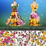 Το φόρεμα με έναν καθιερώνοντα τη μόδα αυξήθηκε και το σχέδιο πεταλούδων Στοκ Φωτογραφία