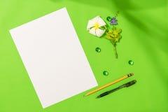 Το φύλλο του κενού εγγράφου A4 με τη μάνδρα, το μολύβι και το frangipani ανθίζουν στο πράσινο υπόβαθρο για κάποιο ιδέα ή μήνυμα Στοκ Εικόνες
