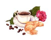 Το φλιτζάνι του καφέ, αυξήθηκε λουλούδι και croissant watercolor Στοκ Φωτογραφίες