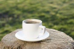 Το φλιτζάνι του καφέ σε ένα ξύλο και backgroud είναι από το πράσινο χρώμα Στοκ Φωτογραφίες