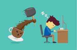 Το φλυτζάνι καφέ εργαζόμενος ξυπνήστε με το σφυρί απεικόνιση αποθεμάτων