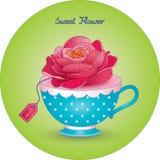 το φλυτζάνι με ένα λουλούδι όμορφο αυξήθηκε στοκ εικόνες