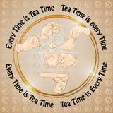 Το φλυτζάνι, τα χέρια, τα μπισκότα και οι λέξεις κάθε είναι χρόνος τσαγιού Στοκ φωτογραφίες με δικαίωμα ελεύθερης χρήσης