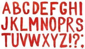 το χέρι αλφάβητου χρωμάτισε το κόκκινο watercolor Στοκ Εικόνες