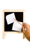 Το χέρι ατόμων δείχνει το μολύβι Στοκ Εικόνες