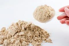 Το χέρι αυξάνει μια πρωτεϊνική σκόνη σοκολάτας ορρού γάλακτος μέτρου κουταλιών για Στοκ Εικόνα