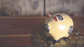 Το χέρι βάζει ένα νόμισμα σε μια piggy τράπεζα απόθεμα βίντεο