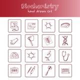 Το χέρι βιοχημείας που σύρθηκε doodle έθεσε σκίτσα Διανυσματική απεικόνιση για το σχέδιο και το προϊόν συσκευασιών Συλλογή συμβόλ απεικόνιση αποθεμάτων