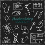 Το χέρι βιοχημείας που σύρθηκε doodle έθεσε σκίτσα Διανυσματική απεικόνιση για το σχέδιο και το προϊόν συσκευασιών Συλλογή συμβόλ ελεύθερη απεικόνιση δικαιώματος
