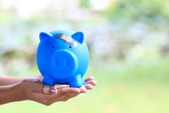 Το χέρι γυναικών που κρατά την μπλε piggy τράπεζα συνδέθηκε με το ασβεστοκονίαμα στο κεφάλι, εκτός από τα χρήματα για την έννοια  στοκ εικόνες με δικαίωμα ελεύθερης χρήσης