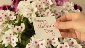 Το χέρι γυναικών ` s που παίρνει μια ευχετήρια κάρτα για την ημέρα μητέρων ` s από την όμορφη ανθοδέσμη ανθίζει απόθεμα βίντεο