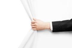 Το χέρι γυρίζει τη Λευκή Βίβλο Στοκ Εικόνες