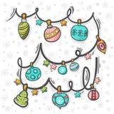 Το χέρι διακοσμήσεων Χριστουγέννων σύρει με το σχέδιο στοκ εικόνες