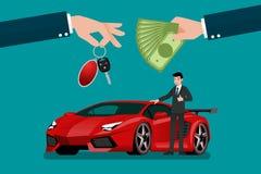 Το χέρι εμπόρων ` s αυτοκινήτων κάνει μια ανταλλαγή μεταξύ του εξωτικού έξοχου αυτοκινήτου πολυτέλειας και των χρημάτων πελατών ` διανυσματική απεικόνιση