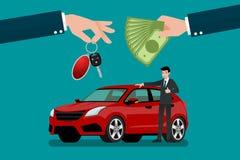 Το χέρι εμπόρων ` s αυτοκινήτων κάνει μια ανταλλαγή μεταξύ του αυτοκινήτου και των χρημάτων πελατών ` s Στοκ Φωτογραφία