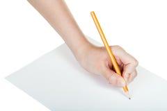 Το χέρι επισύρει την προσοχή από το απλό μολύβι μολύβδου στο φύλλο του εγγράφου Στοκ Φωτογραφίες