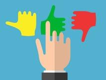 Το χέρι επιχειρηματιών επιλέγει τις συγκινήσεις απεικόνιση αποθεμάτων