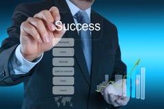 Το χέρι επιχειρηματιών σύρει το διάγραμμα επιχειρησιακής επιτυχίας συμπυκνωμένο Στοκ Εικόνες